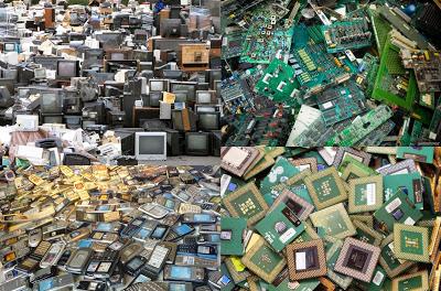 A pile of telecom and ewaste